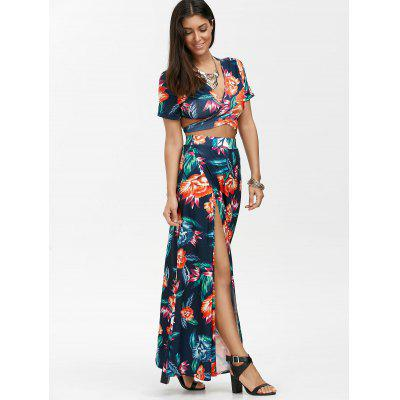 Floral Print Wrap Top with Maxi SkirtWomens Dresses<br>Floral Print Wrap Top with Maxi Skirt<br><br>Dresses Length: Floor-Length<br>Embellishment: Criss-Cross<br>Material: Polyester<br>Neckline: V-Neck<br>Package Contents: 1 x Crop Top  1 x Dress<br>Pattern Type: Floral<br>Season: Summer<br>Silhouette: Beach<br>Sleeve Length: Short Sleeves<br>Style: Casual<br>Weight: 0.4300kg<br>With Belt: No
