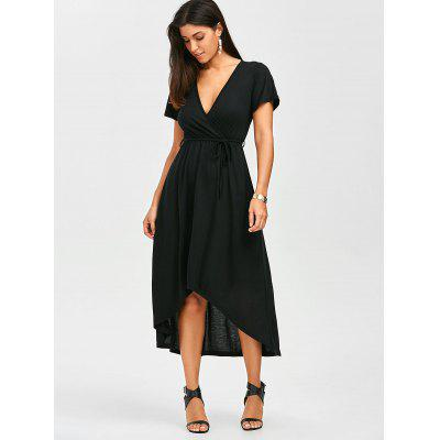 Plunging Neck A Line High Low Casual Surplice DressWomens Dresses<br>Plunging Neck A Line High Low Casual Surplice Dress<br><br>Dresses Length: Mid-Calf<br>Material: Cotton, Polyester<br>Neckline: Plunging Neck<br>Package Contents: 1 x Dress 1 x Belt<br>Pattern Type: Solid Color<br>Season: Summer<br>Silhouette: A-Line<br>Sleeve Length: Short Sleeves<br>Style: Casual<br>Weight: 0.3500kg<br>With Belt: Yes