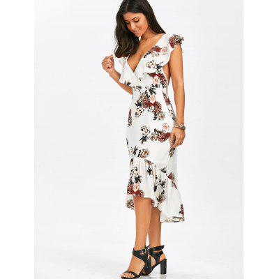 Plunging Floral Ruffle Backless Tea Length DressWomens Dresses<br>Plunging Floral Ruffle Backless Tea Length Dress<br><br>Dresses Length: Mid-Calf<br>Embellishment: Ruffles<br>Material: Polyester<br>Neckline: Plunging Neck<br>Package Contents: 1 x Dress<br>Pattern Type: Floral<br>Season: Summer<br>Silhouette: Asymmetrical<br>Sleeve Length: Short Sleeves<br>Style: Sexy &amp; Club<br>Weight: 0.3700kg<br>With Belt: No