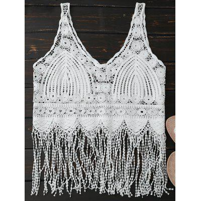 Sheer Fringed Crocheted Lace Tank Top