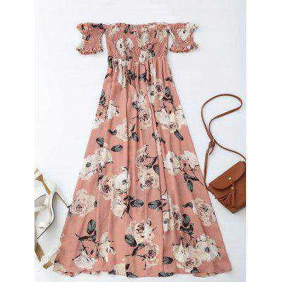 Ruffles Off Shoulder Shirred Floral Maxi DressMaxi Dresses<br>Ruffles Off Shoulder Shirred Floral Maxi Dress<br><br>Dresses Length: Ankle-Length<br>Material: Cotton Blend<br>Neckline: Off The Shoulder<br>Package Contents: 1 x Dress<br>Pattern Type: Floral<br>Season: Summer, Fall, Spring<br>Sleeve Length: Short Sleeves<br>Style: A Line<br>Weight: 0.3700kg<br>With Belt: No