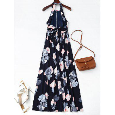 Front Slit Self Tie Floral Maxi DressMaxi Dresses<br>Front Slit Self Tie Floral Maxi Dress<br><br>Dresses Length: Ankle-Length<br>Material: Cotton Blend<br>Neckline: Halter<br>Package Contents: 1 x Dress<br>Pattern Type: Floral<br>Season: Summer, Fall, Spring<br>Sleeve Length: Sleeveless<br>Style: A Line<br>Weight: 0.3700kg<br>With Belt: No
