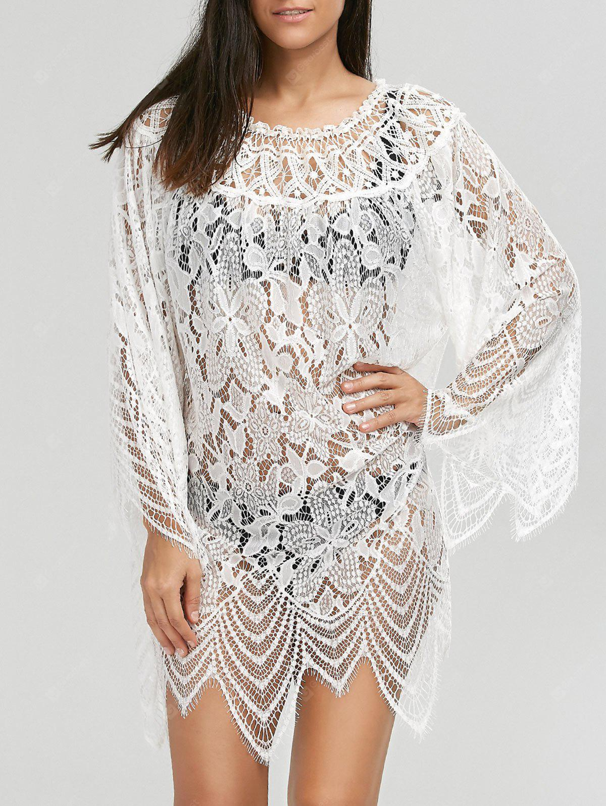 Flared Sleeve Crochet Lace Tunic Cover Up Dress