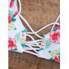 Floral Lace Up Strappy Bikini - WHITE