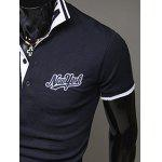 Buy Fashion Style Polo Collar Embroidery Letters Embellished Short Sleeves Polyester Shirt Men M NAVY