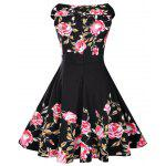 Rose Print 50s Sleeveless Dress - BLACK