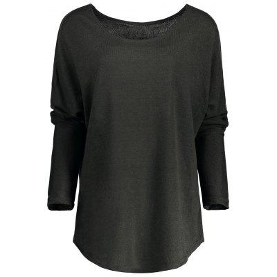 Buy DEEP GRAY L Women's Stylish Scoop Neck Asymmetrical Long Sleeve Sweater for $15.07 in GearBest store
