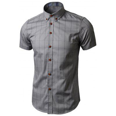 Short Sleeve Button Down Grid Shirt