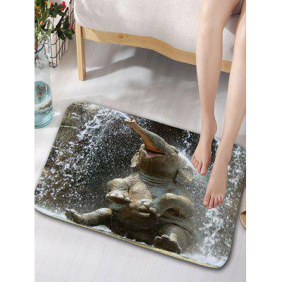 Elephant Playing Water Print Flannel Skidproof Bath Rug