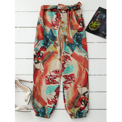 Abstract Print Tie Front Beach Pants