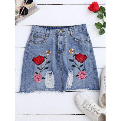 A Line Rose Embroidered Ripped Jean Skirt
