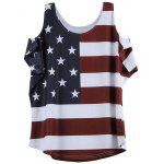 Distressed American Flag Pattern Cold Shoulder T-Shirt - WINE RED
