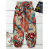 Abstract Print Tie Front Beach Pants - COLORMIX