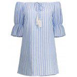 Off The Shoulder Striped Tassel Shift Dress - BLUE STRIPE