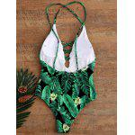Palm Print Backless Plunge Padded One Piece Bathing Suit - PRETO