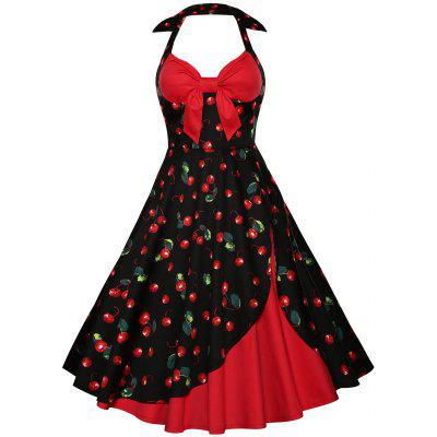 Halter Cherry Print Vintage Skater Dress