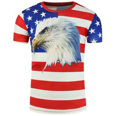 3D Eagle with Patriotic Print T-Shirt