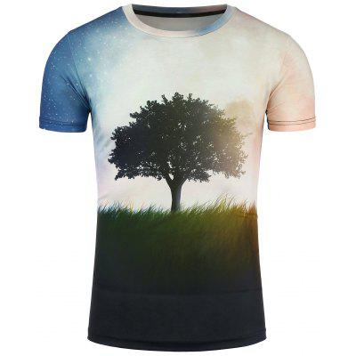 Crew Neck 3D Tree and Galaxy Print T-Shirt