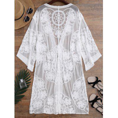 Embroidered Sheer Kimono Cover UpWomens Swimwear<br>Embroidered Sheer Kimono Cover Up<br><br>Cover-Up Type: Kimono<br>Gender: For Women<br>Material: Nylon, Polyester<br>Package Contents: 1 x Cover Up<br>Pattern Type: Floral<br>Weight: 0.3200kg