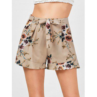 High Waisted Floral Belted Shorts