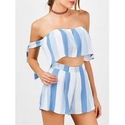 Stripe Strapless Crop Top and High Waisted Shorts