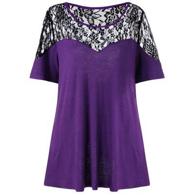 Buy PURPLE XL Plus Size Back Slit Lace Trim T-Shirt for $17.82 in GearBest store