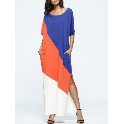 Oversized Color Block High Slit Casual Maxi Dress