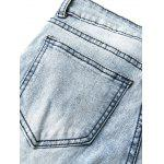 Patch Zipper embelezado Cuffed Jeans - AZUL CLARO