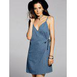Stylish Cami Blue A Line Denim Women's Dress - BLUE
