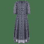 Neck Mode Ronde Half Sleeve Polka Dot Dress For Women - BLEU VIOLET