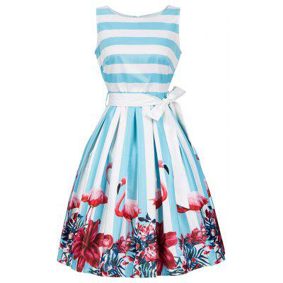 Floral and Striped Sleeveless Dress with Belt