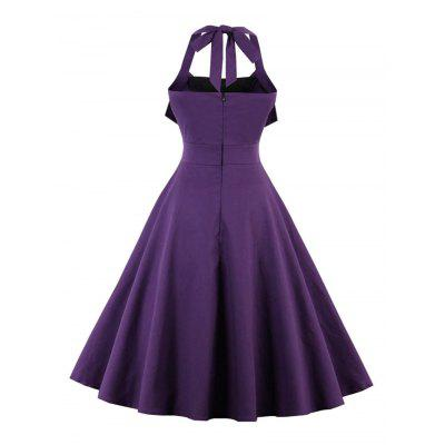 Halter Backless Buttoned Vintage Dress