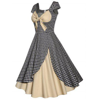 Vintage Plaid Bowknot Design Contrast Panel Dress