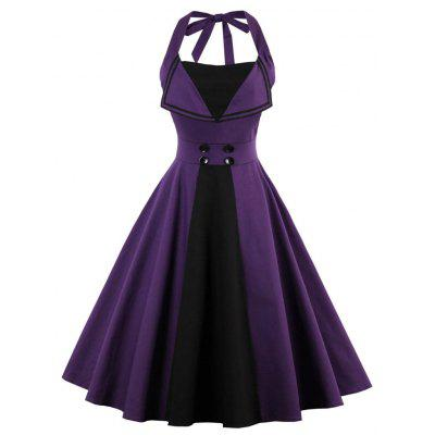 Halter Backless Buttoned Vintage Kleid