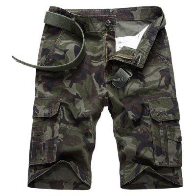 Flap Pocket Camo Cargo Shorts