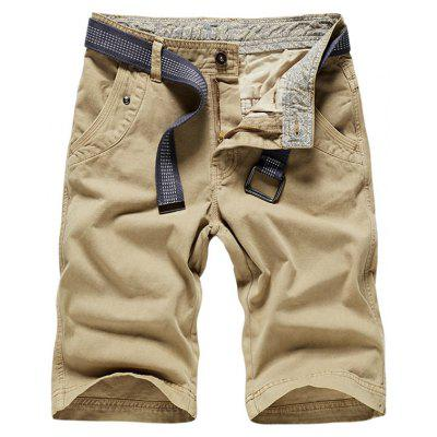 Buy KHAKI 38 Zipper Fly Plain Bermuda Shorts for $34.65 in GearBest store