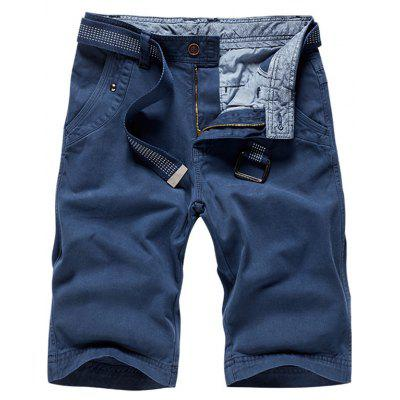 Buy BLUE 38 Zipper Fly Plain Bermuda Shorts for $34.65 in GearBest store
