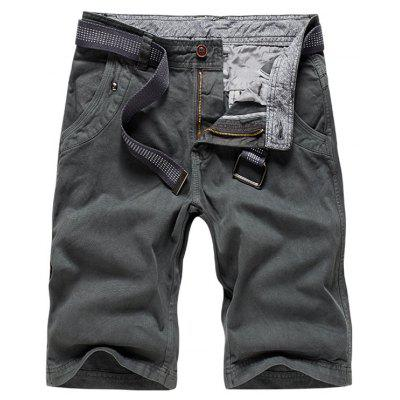 Buy GRAY 30 Zipper Fly Plain Bermuda Shorts for $34.65 in GearBest store