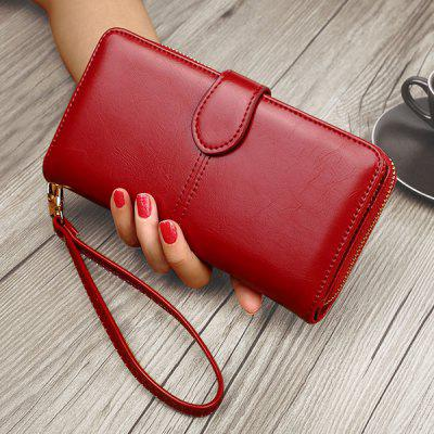 Stitching Eyelet Detail PU Leather Clutch Wallet