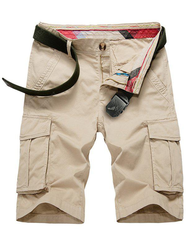 KHAKI Flap Pockets Bermuda Cargo Shorts