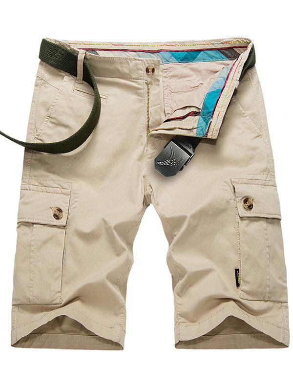 Zip Fly Cargo Shorts avec boutons poches