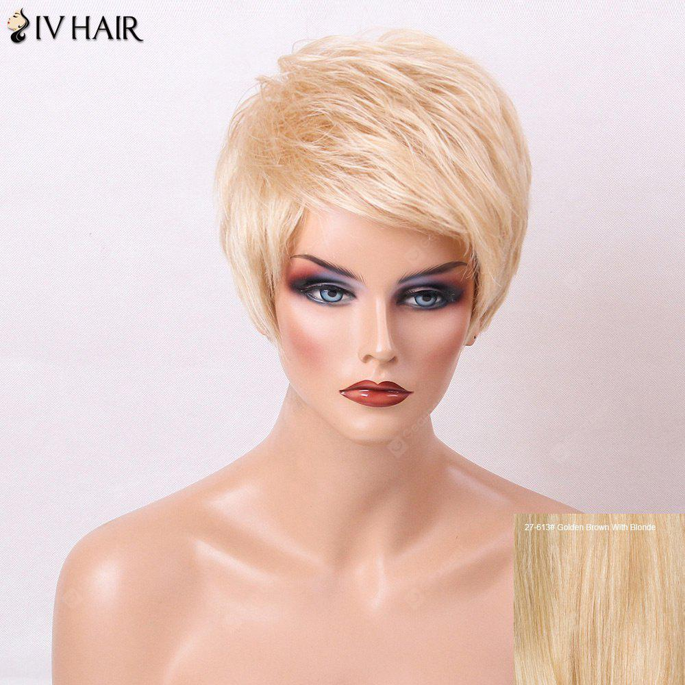 Buy Siv Hair Layered Short Side Bang Straight Pixie Human Wig GOLDEN BROWN WITH BLONDE