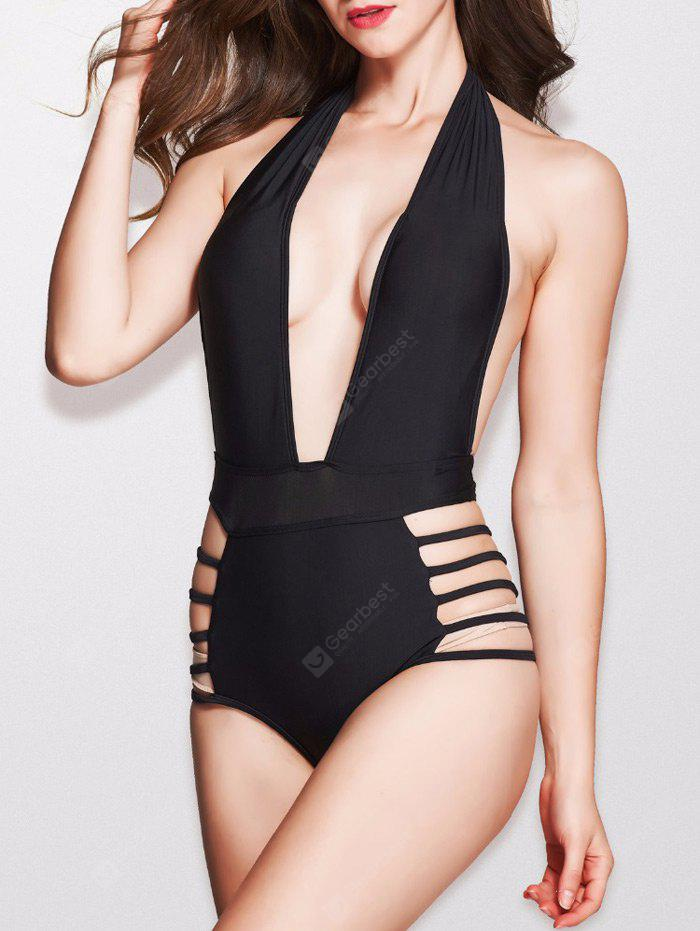 Plunge Halter Cut Out High Waisted Swimsuit