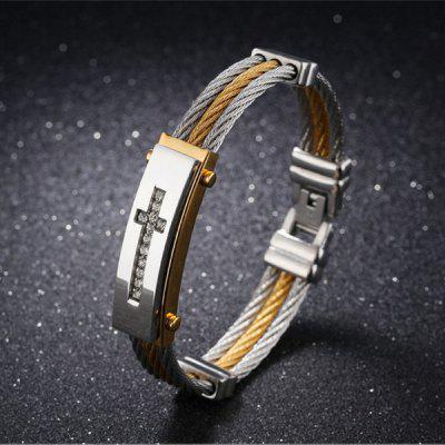 Rhinestone Crucifix Stainless Steel Bangle Bracelet