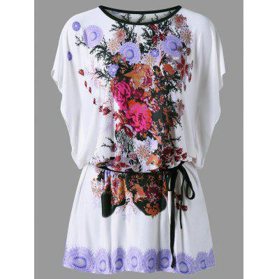 Floral Butterfly Sleeve T-Shirt with Belt