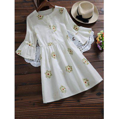 Flare Sleeve Embroidered Floral Shirt Dress