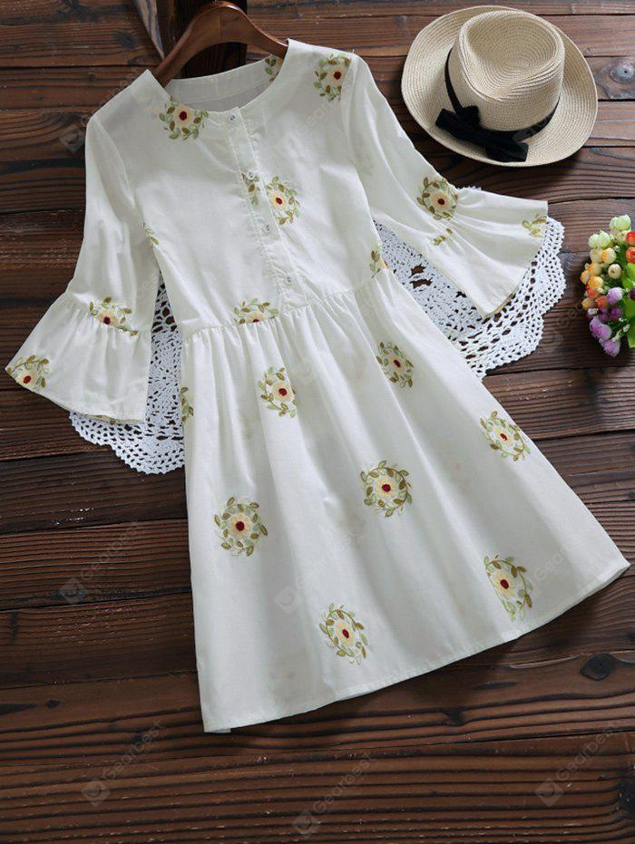 WHITE S Flare Sleeve Embroidered Floral Shirt Dress