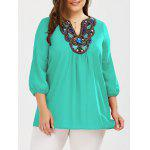Plus Size Embroidered Rhinestone Tunic Blouse - CRYSTAL GREEN