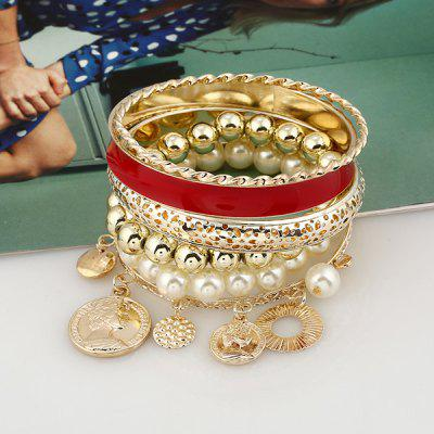 Faux Pearl Coin Beaded Charm Bangle Bracelet Set