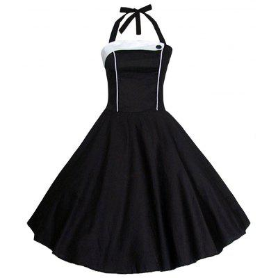 Buy WHITE AND BLACK M Vintage Halter Contrast Insert High Waisted Dress for $29.42 in GearBest store